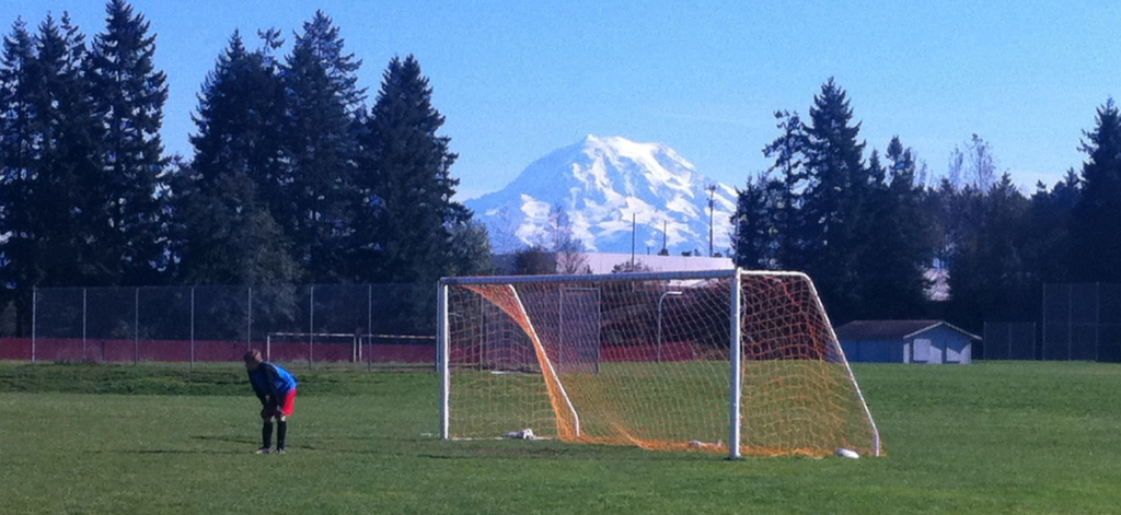 A soccer goal with a gorgeous snow-capped mountain backdrop.
