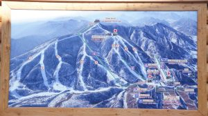 A photo of the ski trail map at Masik Pass in North Korea. Photo Credit: Uri Tours